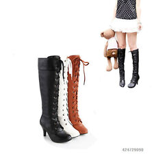 Fashion Women's High Heel Lace UP Knee High Boots Shoes AU All Size Y049