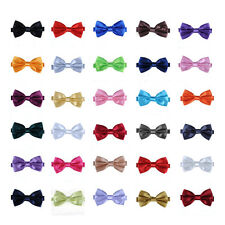 New Mens Pure Plain Bowtie Polyester Pre Tied Wedding Bow Tie