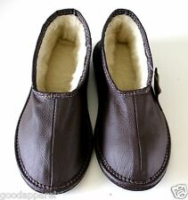 Mens Gents  SHEEPSKIN MOCCASIN SLIPPERS GENUINE Leather Brown Size UK 7 - 12