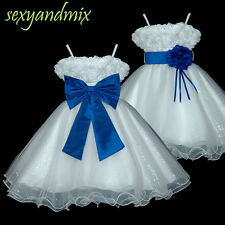 UKMD70 Royal Blue Baby Christening Pageant Party Flower Girls Dress Size 1 to 14