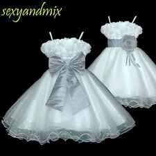 UKMD70 White Silver Grey Christening Wedding Baby Flower Girls Dress 1 to 14 Y