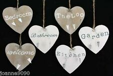 GISELA GRAHAM HEART SHAPED WOOD WOODEN HOME HOUSE INDOOR SIGNS PLAQUES
