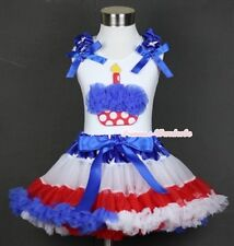 America Flag Star Waist Pettiskirt Blue Minnie Birthday Cupcake White Top 1-8Y