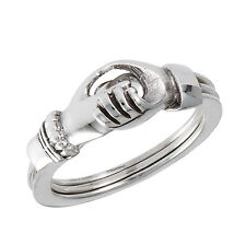 Sterling Silver GIMMAL Gimmel RING Opens-Closes w Claddagh Hands Size 5-9