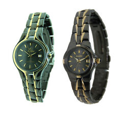 Elgin Black Ion-Plated Two-Tone Watch with Date- Men's or Women's