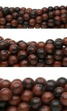 Lot of 10, 16 inch Strands of Round Mahogany Obsidian Natural Gemstone Beads