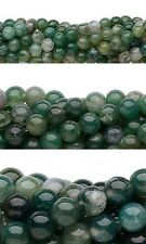Wholesale Lot of 10, 16 inch Strands Round Moss Agate Natural Gemstone Beads