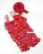 Infant Baby Sparkle Hot Red Ruffle ONE PIECE Petti Romper Kids Girls NB-3Year