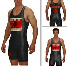 Custom wrestling singlet,  black Quarantine singlet w/CUSTOM TEXT included