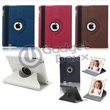 LEATHER 360 DEGREE ROTATING CASE COVER FOR IPAD 2 NEW IPAD 3 WITH SLEEP WAKE