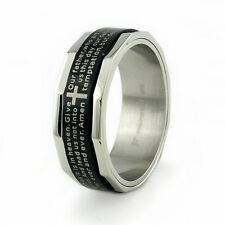 Men's Stainless Steel Lord's Prayer Engravable Spinner Ring