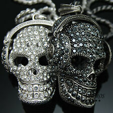 DJ Headphones Skull Head Pendant Necklace Swarovski Crystal Mens Silver Jewelry