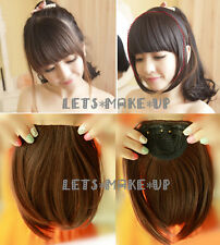 Black Dark Brown Clip In On Bang bangs Fringe Hair Extension Extensions