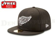 New Era 5950 DETROIT RED WINGS Black White National Hockey League NHL Fitted Cap
