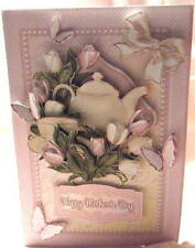Handmade Greeting Card - Time For Tea Pink Tulip and Butterflies Pop Up Greeting