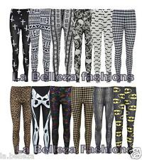 NEW LADIES WOMENS GIRLS LEGGINGS SKULL CROSS FOIL PRINT BLACK SIZE UK 8-14