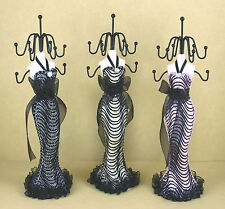 Mannequin Doll Stand Jewelry Holder Stripe Fabric Dress - Choose from 3 Colors