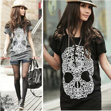Summer Women t-shirt skull print lace stitching short-sleeved T-shirt 7660