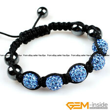 10mm Pave Sparkle Rhinestones Czech Crystal Ball 5 Beads Hand-Woven Bracelet YB