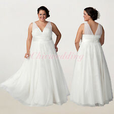 V-Neck White/Ivory Wedding Dresses Chiffon Bridal Gown Plus Size Custom Color