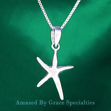 "Sterling Silver Small ""FLYING"" Starfish Pendant/Necklace with Chain Choice"