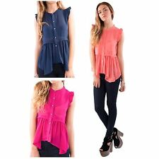 LADIES FRILL CAP SLEEVE TIER DIPPED HEM BUTTON FRONT SEMI SHEER TOPS/BLOUSES
