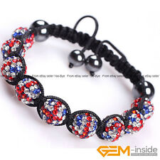 10mm Rhinestone Czech Crystal Ball Pave Hand-Woven Bracelet For Women Adjustable