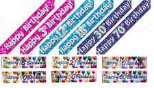 Holographic Foil Banners, Happy Birthday, 1-13,16,18,21,30,40,50,60,65,70&80