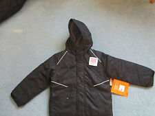 Athletech Snow Jacket Black white piping grey lining boys Winter Coat Youth New