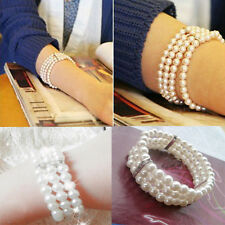 Womens Stretchy 3 Rows Pearl Crystal Rhinestone Pearl Bangle Bracelet Wristband