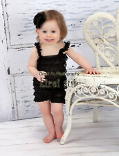 Baby Girls Black Lace Petti Romper Straps Bow NB-3T RS3