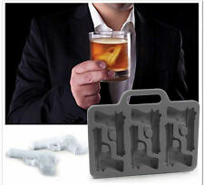 Blue Red Silicone Pistol Hand Gun Shape Frozen Cake Drink Bar Ice Mold Cube Tray