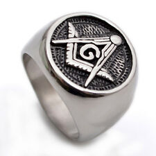 Stainless Steel Round Black & Silver Masonic Mens Ring Size 8 9 10 11 12 R357
