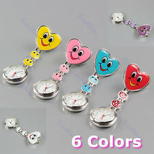 Hanging Pocket Watch Fobwatch Heart Shape Smile Face Nurse Clip On Fob Brooch