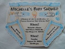 "UNIQUE PERSONALIZED BABY SHOWER DIAPER INVITATIONS, TWINS, GENDER REVEAL ""CUTE"""