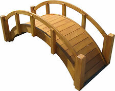 "Decorative Japanese Wood Garden Bridge, 25""L x 11""H x 11-1/2""W, Assembled, New"