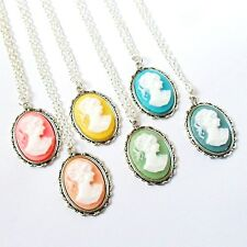 Vintage Style Cameo Lady Necklace in Candy Colours Silver Chain Retro Pendant UK