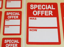 Bright Red SPECIAL OFFER Was / Now Price Point Stickers Swing Tag Sticky Labels