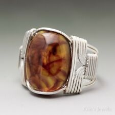 Amber Cabochon Sterling Silver Wire Wrapped Ring ANY Size