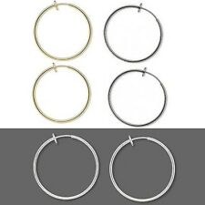 Pair of 1 3/8 inch Clip on Hoop Earrings With Spring Closure for Pierced Look
