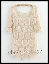 FREE GIFT + Vtg hippie boho floral cut out crochet lace tunic wedding dress top