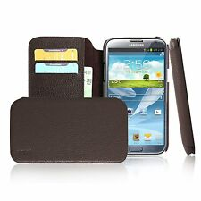 Samsung Galaxy Note 2 II Case [MobC] Genuine Leather Wallet Diary Flip Cover