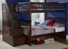 Staircase Bunk Bed with Stairs Full over Full Storage Stairway Dark Wood Finish