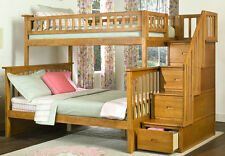 Staircase Bunk Bed with Stairs Twin over Full Storage Stairway - Caramel Finish