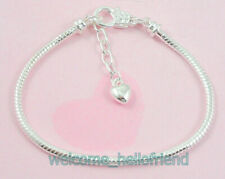 Wholesale 50 Silver Plated Snake Chain Charm Bracelets Fit European Beads P13