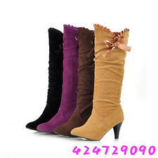 NEW Women's Shoes Fashion Ruffled Boots High Heel Knee High Bow AU All Size Y440