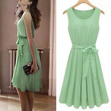Women Summer Chiffon Mint Green Pleated Sleeveless Vest Dress Skirt Formal Party