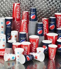 Strong Paper Soft Drinks Cups Disposable Coke Coca Cola / Star Design All Sizes