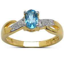 GOLD PLATED STERLING SILVER BLUE TOPAZ & DIAMOND ENGAGEMENT RING ( SIZE  K P )