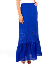 BRAND NEW ROYAL BLUE FLORAL EMBROIDERED LONG SKIRT SIZES S M L